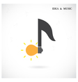 Creative music note sign and light bulb symbol vector image