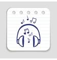 Doodle Headphones icon vector image
