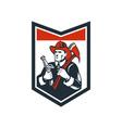 Fireman Firefighter Carry Axe Hose Shield Woodcut vector image