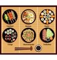 Japanese Cuisine Set Dishes Flat Style vector image