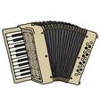 Old beige accordion vector image