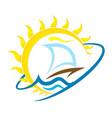 sailboat and sun travel vector image