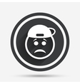 Sad rapper face sign icon Sadness symbol vector image