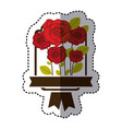 color decorative emblem with oval roses icon vector image