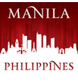manila philippines city skyline silhouette red vector image