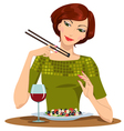 beautiful girl dines vector image