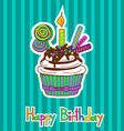 Card for birthday with cupcake vector image