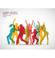 Happy people group shadow color silhouette vector image
