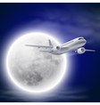 Airplane in the night sky with moon vector image