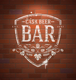 Bar sign painted with white paint on brick wall vector image