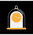 Clock icon with glass cap Flat design Black vector image