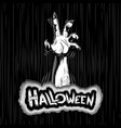 halloween background zombie hand fog title sigh vector image