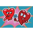 Male character gives a woman flowers red hearts vector image