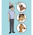 rabbit hipster style casual dressed with icons vector image