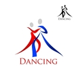 Sports emblem with dancing people silhouettes vector image