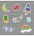 Fashion patch badges with different elements Set vector image