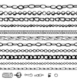 Set with chains woman fashion Contour black and vector image vector image