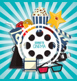 cinema movie concept with pop corn soda glasses vector image