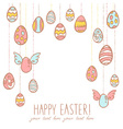 Easter eggs hanging on laces vector image