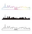 Baku skyline linear style with rainbow vector image