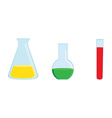 Chemistry flasks vector image