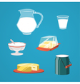 Milk food and drink products decorative icons set vector image