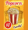 popcorn menu sketch cinema cafe poster vector image