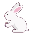rabbit holding easter egg with long ears vector image