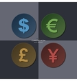 set of currency icons dollar euro pound yen vector image