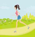teen girl having fun on roller skates in the park vector image