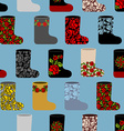 Russian traditional winter shoes seamless pattern vector image