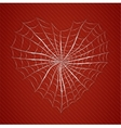 Cobweb heart on red background vector image vector image