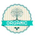 Organic Label with Plant Symbol and Tree vector image