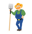 cartoon farmer standing with pitchforks vector image