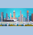 modern city landscape background with semi truck vector image