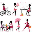 Silhouette girls set vector image