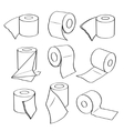 Simple set icons of toilet paper rolls vector image