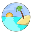 Tropical ocean island with palm tree icon vector image