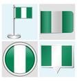 Nigeria flag - sticker button label flagstaff vector image