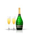 Champagne bottle and glasses vector image vector image