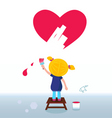 kid painting heart on wall vector image vector image