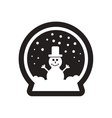 Flat icon in black and white christmas glass ball vector image