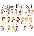 Set of children doing different activities vector image