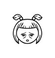 Thin line tired face icon vector image