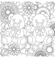 two cute teddy bears linear black and white art vector image