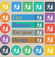 Rock climbing icon sign Set of twenty colored flat vector image