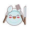 dish and cutlery kawaii style vector image
