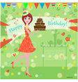 Girl Birthday Cake Card vector image vector image