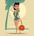 happy smiling woman mascot character the beach vector image
