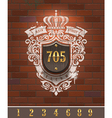 Vintage home number sign on brick wall vector image vector image